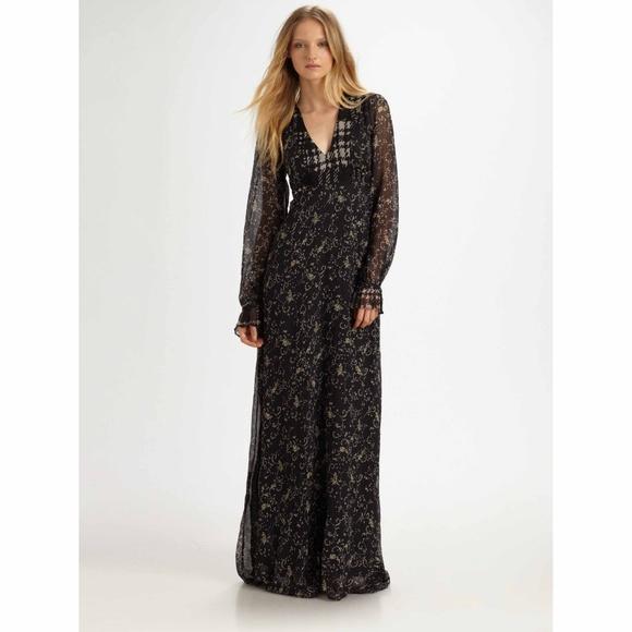 4c11d9cd747ec Winter Kate Black Sweet Rose Maxi Dress 100% Silk.  M_5aa65140d39ca27ad88583f2